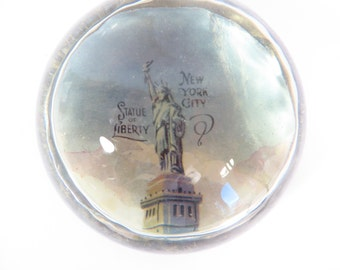 Vintage New York City Souvenir Glass Paperweight - Half Dome Statue of Liberty Paperweight
