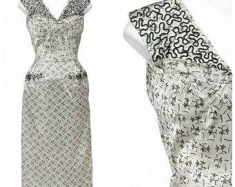 Atomic 50s dress // Vintage Rare RHINESTONE Soutache Shelf Bust Silver Metallic Dress S