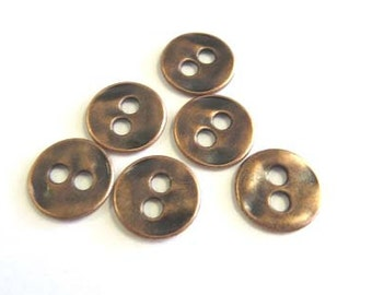 2 Hole Antique Copper Metal Buttons # B623