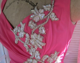 Hot Pink Chiffon Formal applied beadwork and sequins