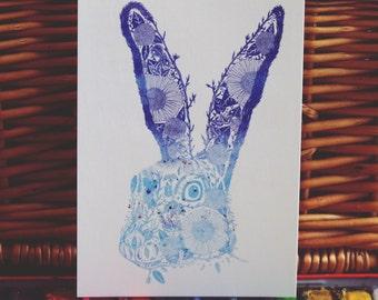 Hare postcard illustration //Hare Drawing // Woodland Animal Art // Watercolour Animal // Botanical Print // Animal Gift