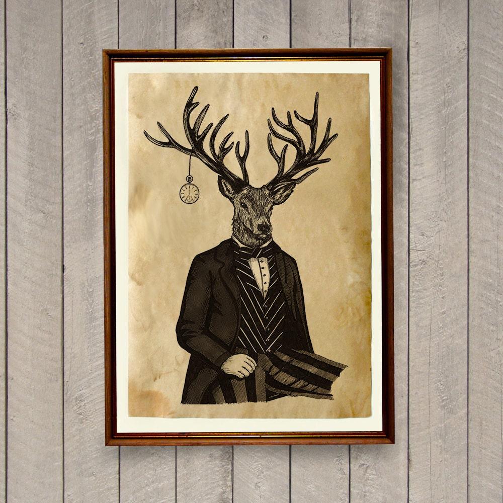 Steampunk Deer Poster Vintage Home Decor Animal Print By
