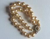 Vintage Double Strand Pearl Bracelet