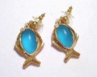 Fish Earrings, Vintage Avon Nautical Jewelry, Faux Sea Glass, Gold Fish Pierced Dangle Earrings