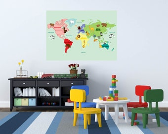 wall decals - Kids wall decals - map decal -  world map decal -  vinyl wall decal -- playroom decals