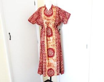Vintage IndiaTribal Ethnic GAUZE Cotton Tent Batik Dress S M L