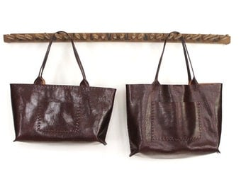 SALE - Belleville Tote - Available in two sizes - Italian Leather - Bordeaux - 40% OFF