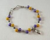 LSU Tigers, Purple and Gold Bead Bracelet