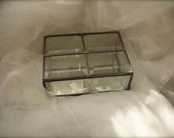 Vintage Stained Glass jewelry box, Beveled stained glass jewelry box