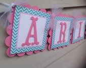 Pink and Aqua Chevron Name Banner First Birthday Winter Onederland Mermaid Party