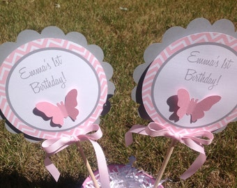Grey and Pink Chevron Butterfly Birthday Or Baby Shower Centerpiece Decoration Sticks Set of 2