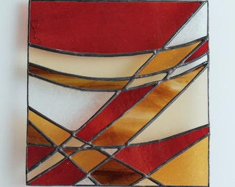 Telephone Wires I - stained glass panel