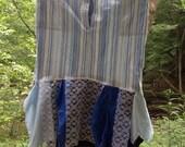 Upcycled recycled Boho Style Womens Blue Tattered Skirt