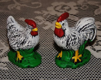 cute little set of hen and rooster figurines - farmyard pair - country - miniatures - chickens