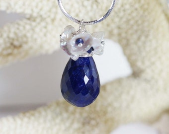Large Sapphire Pendant, Birthstone September, Sapphire Wire Wrapped Briolette, Charm pendant