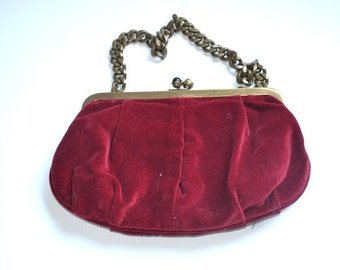 Vintage cotton burgundy purse   J. Crew Clutch Purse  handbag, evening bag New, not used NOS