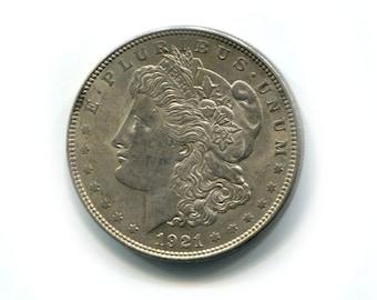 1921 US Morgan Silver Dollar - XF 40 - Collectible Coin, Vintage Coin, Old Money, Money for Gift, Silver Coin - Antique Silver Coin Gift