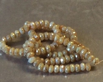 Czech Faceted Rondelle Bead 3mm x 5mm Champagne Opal Picasso 1 Strand