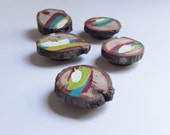 Tree slice wood magnets  Set of 5- Hand Painted Abstract Design