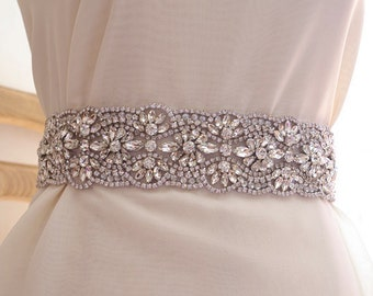crystal sash belt, wedding sash belt trim, one yard, delicate sash belt by the yard