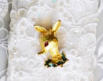 Reindeer Brooch, Vintage Christmas Motif, Gold Tone and Enamel, Clearance Sale, Item No. X23