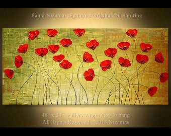 """Oil and Acrylic Red Poppies Flower Painting 48""""  Painting Green Red Poppy Flower Oil on Canvas, textured flower abstract  large 4 Feet Wide"""