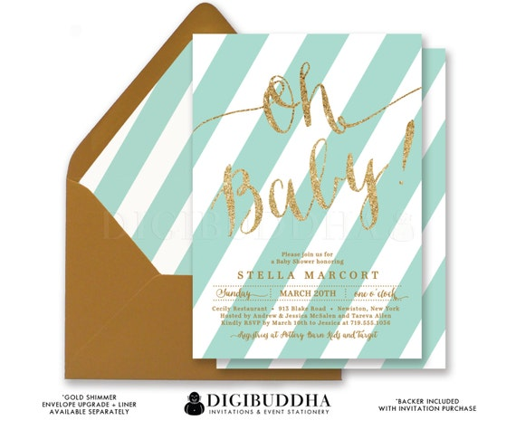 blue mint baby shower invitations oh baby! stripe gold glitter, Baby shower invitations