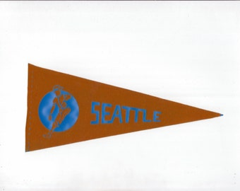 Vintage Baseball Pennant SEATTLE Mariners Dark Orange & Blue 8 1/2 Inch Mini Flag 1970s Collectible Vintage Sports Decor Gameroom Man Cave