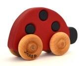 Wooden Toy Ladybug - Waldorf Toddler Toy - Push Toy - Personalized