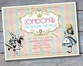 ALICE in Onederland Birthday Invitation - Wonderland - Printable File - 5 x 7 - Personalized - Print your own - Mad Hatter - Vintage style