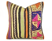 Kilim Pillow Cover, skp8-35, Kilim Pillow, Turkish Pillow, Kilim Cushions, Moroccan Pillow,  Bohemian Pillow, Turkish Kilim, Kilim
