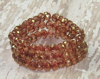 Pink 5x3mm Bead Czech Glass Rondelle Gold Luster Faceted CHAMPAGNE (30)