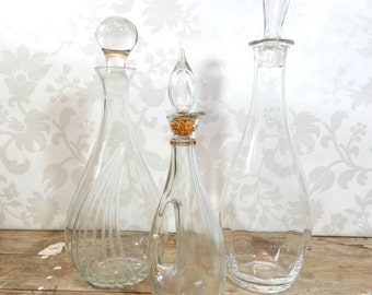 Decanter Lot, Crystal and Glass set of 3 decanters, all with lids, wedding decor, Barware, bar decor