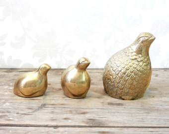 Brass Quail Figures, Golden Bird Pair, little Fat round birds, Game Hen, avian figurines,