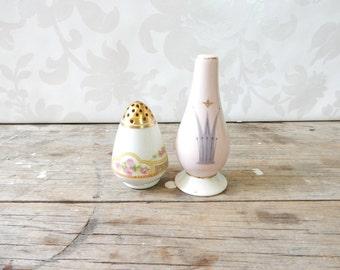 Vintage Orphaned salt and pepper set, Limoges Elite and Royal Splendor, porcelain tableware set, pink, yellow, fswp