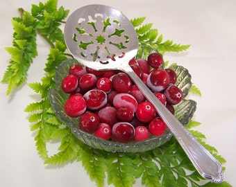 TOMATO Server, CRANBERRY Server, Tomatoes, Cranberries, Holiday Canape Server, Vintage Silver Plated, Laurel by Rogers, 1934, Under 20