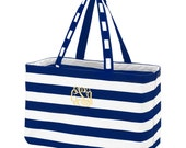 Monogrammed Ultimate Tote, Navy Chevron Tote, Personalized Utility Tote, Embroidered Tote Bag, Carry All Tote, Personalized Gift