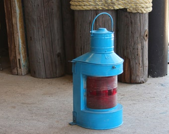 Nautical, Blue Lantern, Red Glass, Beach Decor, Vintage, Restored by SEASTYLE