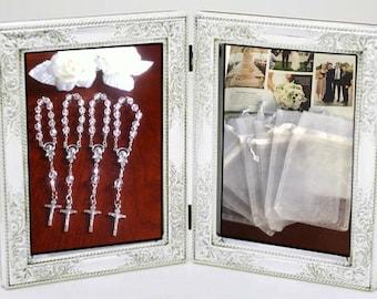"40 min rosaries and 40 pcs Organza bags, 4"" x 6"" organza bag , favor bag , jewel organza bag white color,wholesale minirosaries,NARELO"