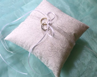 Silver and White Ring Pillow White Satin and Silver Organza ribbon ties