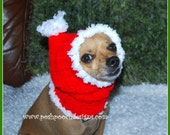 Christmas Santa Dog Snood Instant Download Crochet Pattern  For Small Dogs
