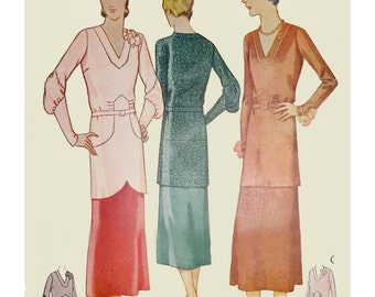 1930s Style Art Deco V Neck Tunic Blouse and Skirt Set Custom Made in Your Size From a Vintage Pattern