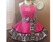 Custom Listing For Vanessa...Embroidered Woman's Retro Apron In Hot Pink With Damask Print Accent