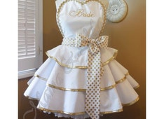 Gold Metallic BRIDE Apron Featuring Spot On Gold & White Polka Dot Print...Perfect Bridal Shower Gift