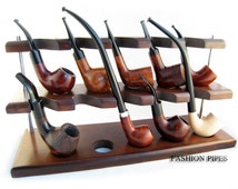 New Wooden Pipes Stand-Showcase Rack Holder for 10 Tobacco Smoking Pipes . Handmade.....LIMITED Edition.....