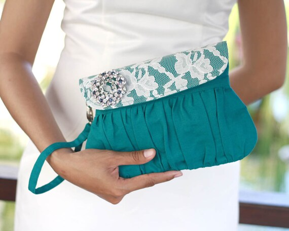 Teal Clutch with rhinestone brooch, Linen and lace clutch - wedding clutch - bridesmaid clutch