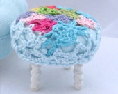 Hand made blue miniature Button Footstool, crochet  round stool tabouret in 1/12 scale, in Shabby Chic, Vintage