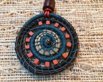 Handwoven Pine Needle Pendant Necklace Gift for Her Wearable Art Pine Needle Natural Coiled Beaded