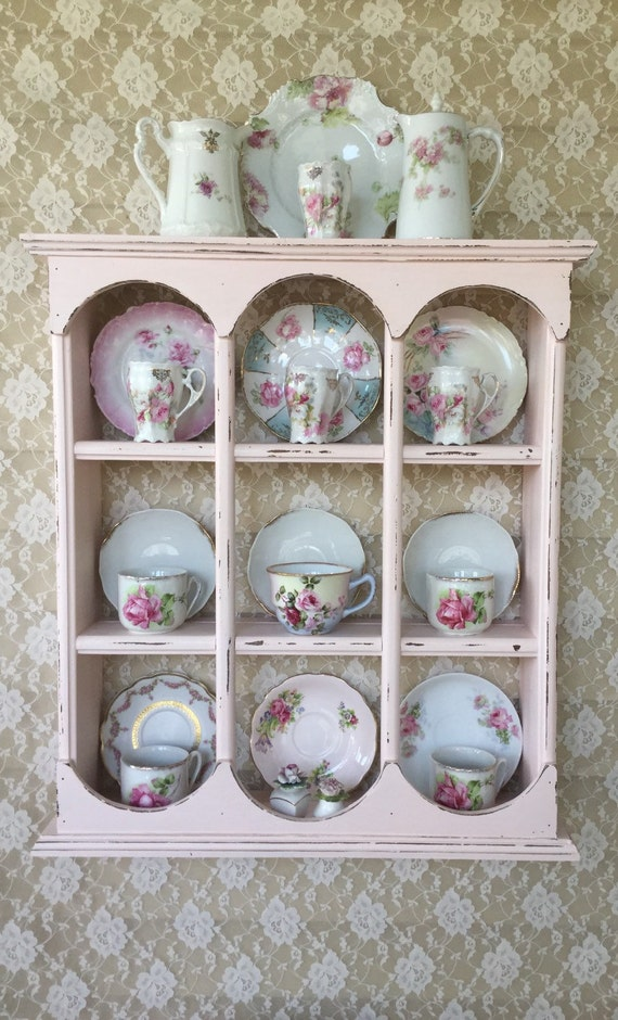 Reserved For Ar Shabby Pink Plate Rackteacup Shelfcurio