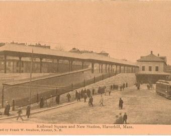 Vintage Postcard, Haverhill, Massachusetts, Railroad Square and New Station, ca 1910